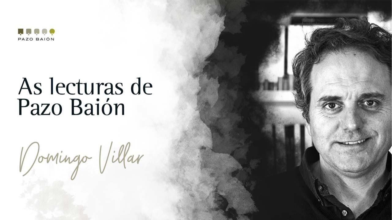 Domingo Villar marida 3 libros cos viños de Pazo Baión
